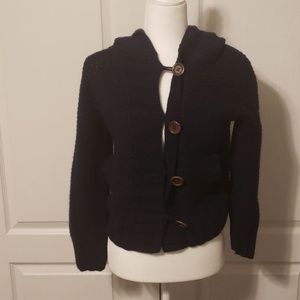 Wallace thick button up navy cardigan. Size small
